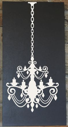 Chandelier Silhouette on Handpainted Wooden Board by vinylcrafts, $55.00