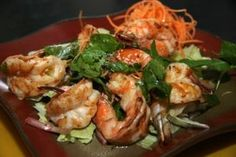 Shrimp Salad:Grilled shrimp, mint leaves, red onions, chili paste, and spicy lime dressing  from Mai Thai Restaurant in Fountain Valley #Food #Shrim #Salad forked.com