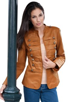 Plus Size Leather Military Jacket | Plus Size Leather Shop | Jessica London