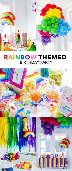 Everything You Need to Know to Host a Rainbow Themed Birthday Party - Carrie Colbert Rainbow First Birthday, Colorful Birthday, Colorful Party, Unicorn Birthday Parties, Unicorn Party, First Birthday Parties, Birthday Party Themes, First Birthdays, Birthday Ideas