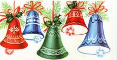 After World War II ends in 1945, Christmas cards become celebratory and cheerful. Patriotism is more noticeable, with red, white and blue commonly used in cards along with traditional green. Bells of victory are featured on Christmas cards of all types.