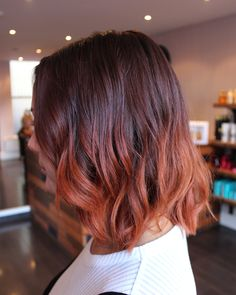 Root stretch blended into coppery ends