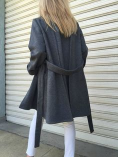 Wool Poncho Coat with Pockets / Women Cape Coat by MDSewingAtelier