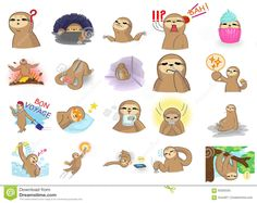 Cute And Funny Cartoon Sloth Character Mascot In Various Action Stock Vector - Image: 63330335