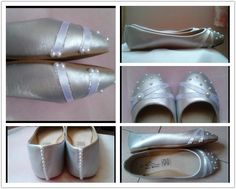 silver diy flat shoes pearl & ribbons for women