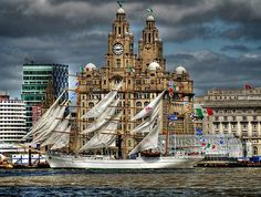 Image of Dramatic HDR Tall Ships Liverpool Harbour Liverpool Waterfront, Liverpool Docks, Liverpool History, Liverpool Home, Liverpool England, Beatles, Places Around The World, Around The Worlds, Big Ben