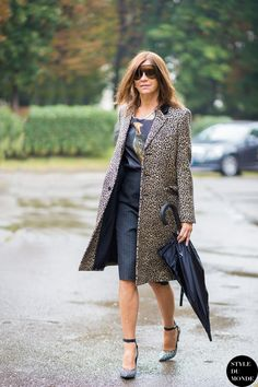 Prints in street style. Carine Roitfeld in leopard at Milan Fashion Week Spring 2015.
