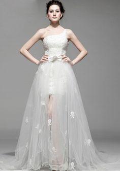 Tulle Sheath Column Wedding Dress