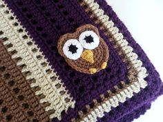 Crochet Owl Baby Blanket in Purple, Brown and Ivory- Handmade Blanket for Babies  - Ready to Ship