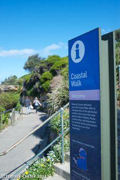 Coastal walk sign, Bondi, Sydney.