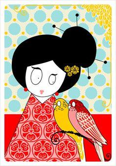 Madame Mo Deux perroquets postcard ♥