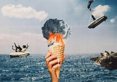ICE SCREAM - Collage papier #artwork #collage #analog #diy #art #surrealism #ice #vintage