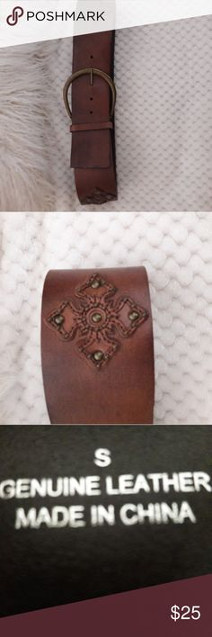 EXPRESS wide leather belt w/brass buckle Wide brown leather with brass stud embellishments. Size small. Express Accessories Belts