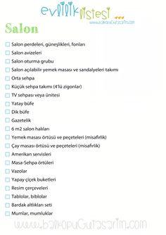 Salon ceyiz listesi