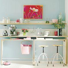 Craft Room DIY Desk and Shelving Idea