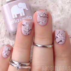 Amazing cherry blossoms nail design #nails #naildesign @manicure #cherryblossom