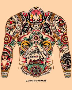 Neo Traditional Chest Tattoo, Traditional Bear Tattoo, American Traditional Sleeve, Traditional Tattoo Old School, Traditional Tattoo Design, Tattoo Sleeve Filler, Sleeve Tattoos, Body Art Tattoos, Old School Tattoo Designs