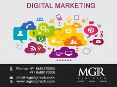 Digital marketing : Working with you to establish your brand is one of the most important steps.  With digital marketing you're speaking to a specific audience and really test things and iterate quickly. So if one ad doesn't work you can try variations of it and track progress. MGR DIGITECH provides Results-focused digital marketing strategies to generate traffic,leads  and sales for your business. Get in touch with us today Phone: +91 8688170003 +91 8688170008 Email-Id:info@mgrdigitech.