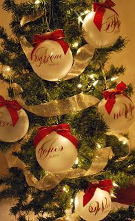I can cut names of family members with my cricut machine and stick on glass balls.  Love this for next year!.