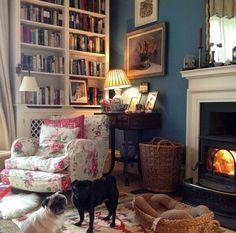cozy nook. dogs. love.