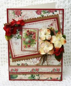 SNEAK PEEK ~ VINTAGE VELVET Hydrangea picks are the perfect addition to a card or tag!  Plus, look how beautifully they match this paper from Graphic 45!