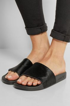 adidas Originals - Adilette calf hair and rubber slides Sandals Outfit, Sport Sandals, Flat Sandals, Adidas Originals, J Brand, Sliders, Shoe Boots, Shoes Heels, Adidas Slides