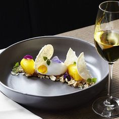 Coconut sorbet, mango-chili sorbet, cardamom-sesame chavde & peanut brittle. ✅ By @tonkarestaurant /  by @kaylenetan_ ✅ #ChefsOfInstagram