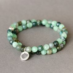 Green Amazonite Agate Stone Double Wrap Lotus Hill by TheGoosle