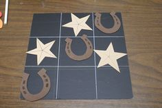 September theme idea - How the West was Fun - Western tic tac toe. We could put attach velcro so the board could be attached to a wall Rodeo Party, Cowboy Birthday Party, Horse Party, Cowgirl Party, Cowboy Party Games, Soccer Party, Pirate Party, Vbs Crafts, Camping Crafts