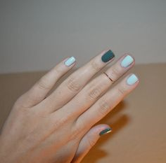 """Essie's """"Mint Candy Apple"""" and Nicole by OPI's """"Green up your act""""."""