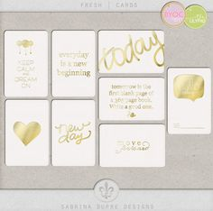 Fresh Cards - love these gold journal filler cards
