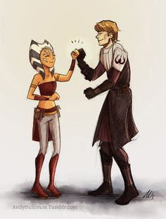 Not sure why this artist changes Ahsoka's outfit in every drawing...but I like it
