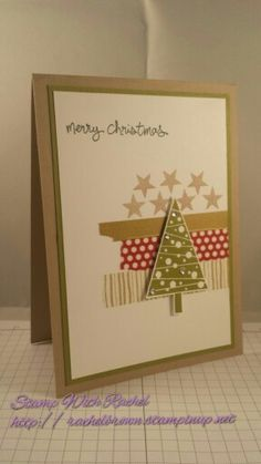 Stampin up festival of trees, washi tape christmas card. Cased from another card on pinterest..