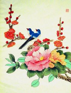 chinese flowers | Flowers and Birds Chinese Silk Painting 2996, this Chinese silk ...