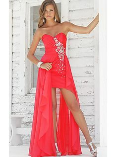A-line Red High Low Chiffon Prom Dress /Evening /Formal dress 9315