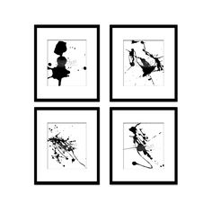 Paint Splatter Set 8, Black And White Art, Digital Black And White Art Prints, Abstract Art, Contemporary Art, Printable Art, Home Decor
