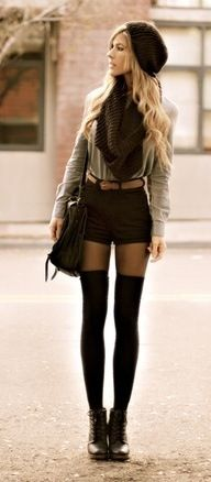 Thigh high socks, bringing shorts into fall :)