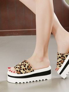 Shop Leopard Horsehair Open Toe Platform Sandals from choies.com .Free shipping Worldwide.$54.89