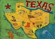 Texas landkarte / Digitaldruck von Original Illustration / USA Amerika / handgemalte Typographie