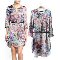 Fashion 2014 spring and summer new arrival women's flower basic slim one-piece dress chiffon three quarter sleeve $16.82