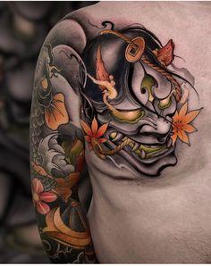 Japanese Mask Tattoo, Japanese Tattoos For Men, Japanese Flower Tattoo, Japanese Dragon Tattoos, Japanese Tattoo Designs, Japanese Sleeve Tattoos, Dragon Tattoo Art, Hannya Mask Tattoo, Hanya Tattoo