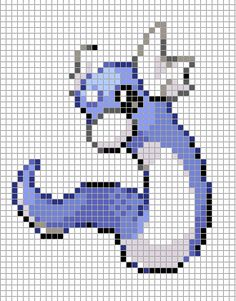 Pokemon from the Generation 3 Series. Placed in grid format to make it easier for pixel-arters to create on minecraft, in hama form, cross-stitch or oth. Melty Bead Patterns, Perler Patterns, Beading Patterns, Dratini Pokemon, Art Pokemon, Pokemon Perler Beads, Pearler Beads, Pokemon Cross Stitch, Pixel Art Grid