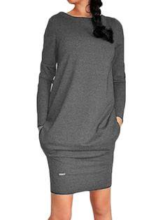 Pocket Slim Pure Color Long Sleeve Round Neck Women Mini Dress