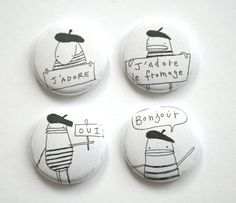 Pin Button Badge Set of Four  Bonjour Oui Fromage by poosac