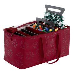 Seasons Christmas Lights Storage Duffel Bag, Red