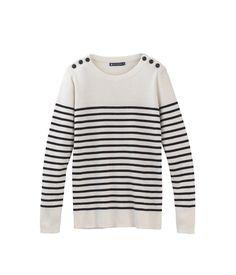 L'iconique pull marin femme en tricot de coton rayé