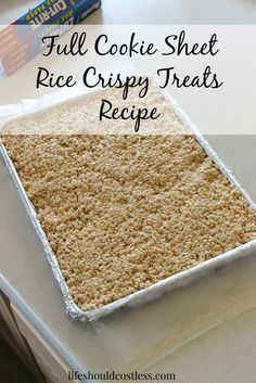 Rice Crispy Treats Recipe to fill an entire cookie sheet. It's perfect for any time you have a bake sale or just need to feed a crowd. {lifeshouldcostless.com}