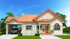 Print Modern Bungalow House Design With Three Bedrooms - Ulric Home Modern Bungalow House Design, 4 Bedroom House Designs, Three Bedroom House Plan, Bungalow House Plans, House Front Design, Small House Design, One Storey House, Model House Plan, 3d Home
