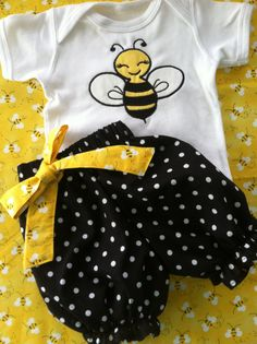 Lovely Baby Bumble Bee Bloomers And Onesie Set By Fridascloset1 2800