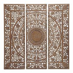 Triptychon geschnitzt aus braunem Holz H 153 cm ANDAMAN